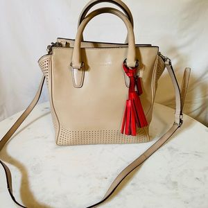 Coach tan and red crossbody bag